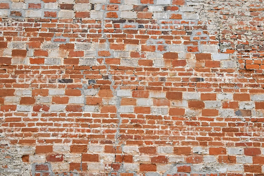 Old wall of red and white bricks royalty-free stock photo