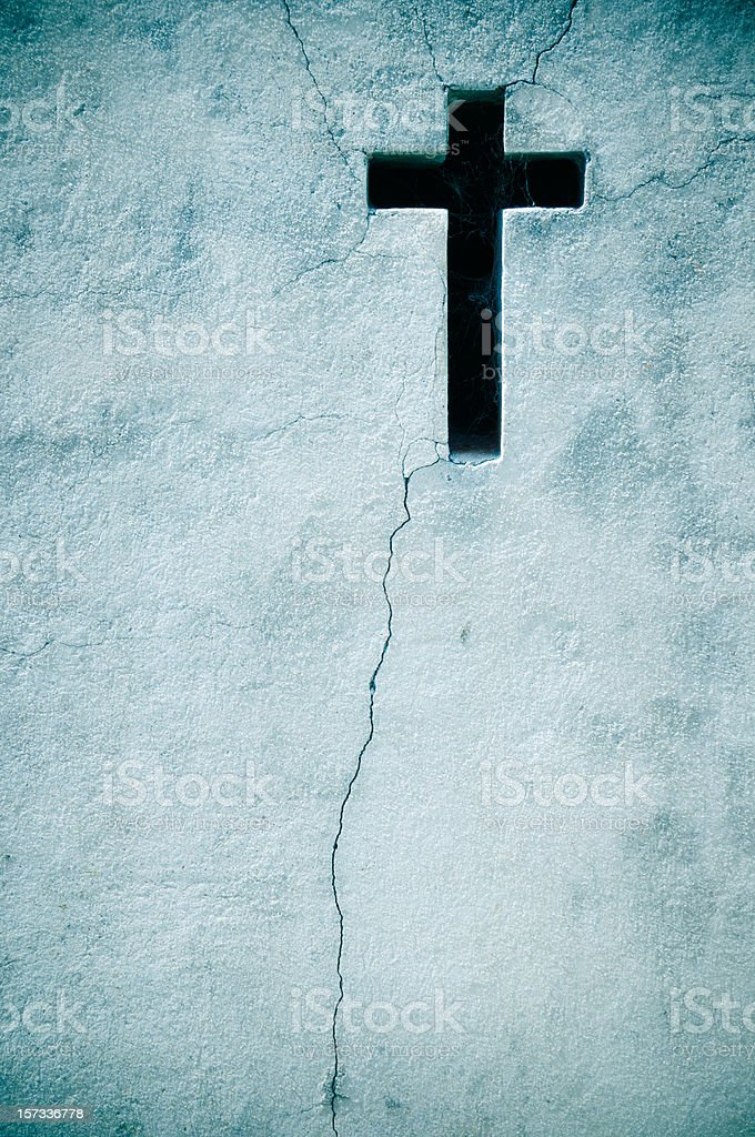 Old Wall With Cross royalty-free stock photo