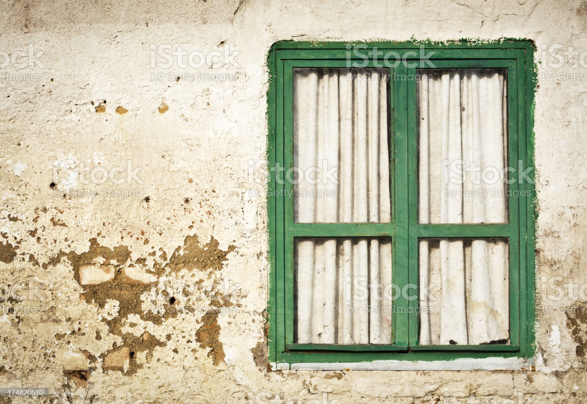 Old Wall With Green Window royalty-free stock photo