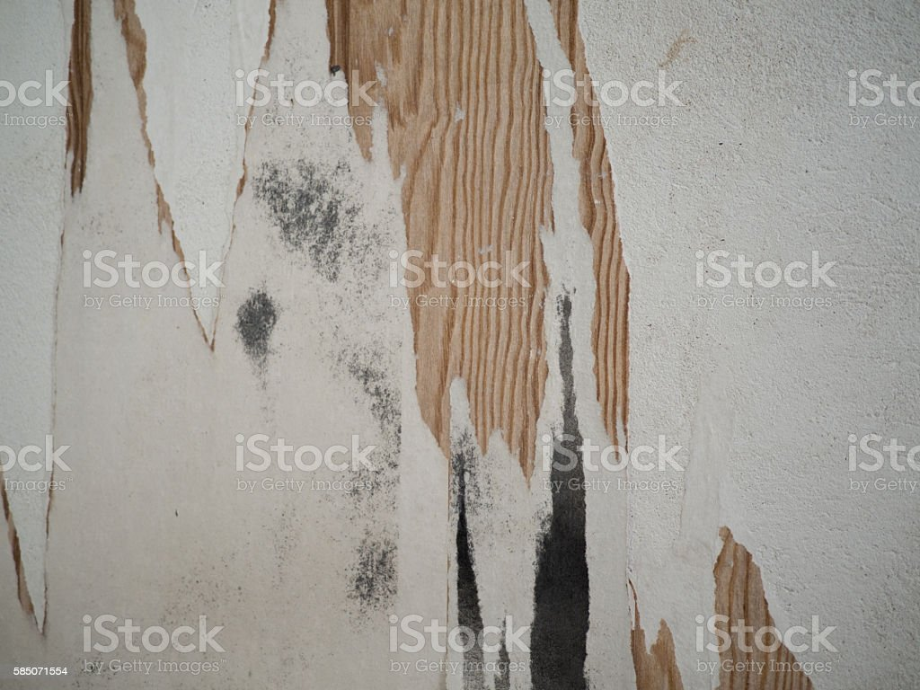 Old wall with peeled of wallpaper. stock photo