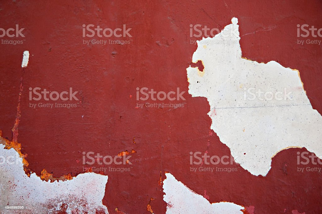 Old wall with peeling paint in Guatemala stock photo