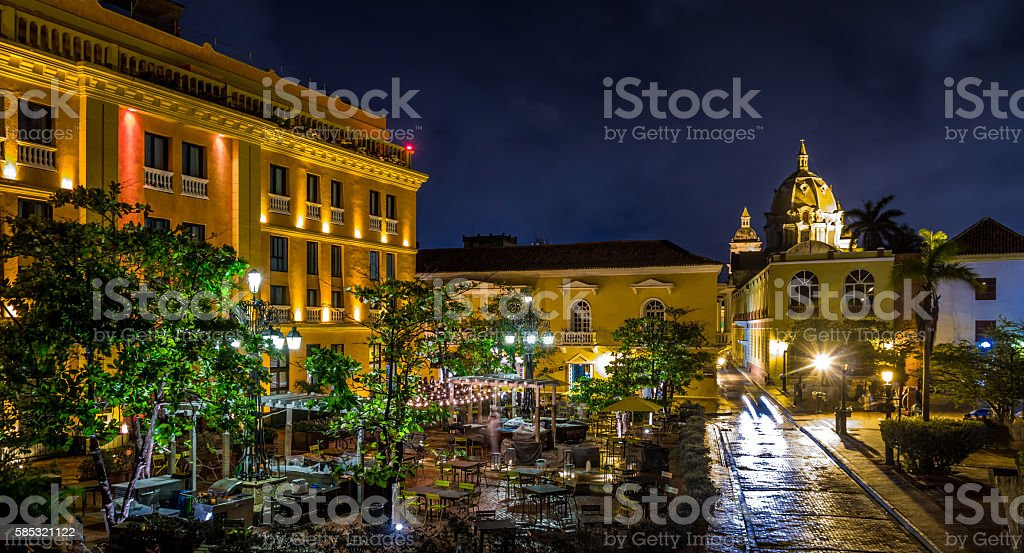 Old Walled City of Cartagena at night - Colombia stock photo