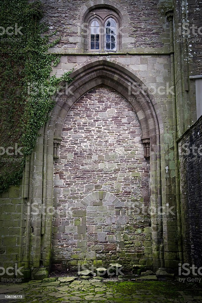 Walled up Doorway at Llanthony Priory, Wales stock photo