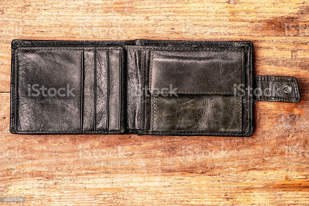 Old Wallet on Wooden Background stock photo