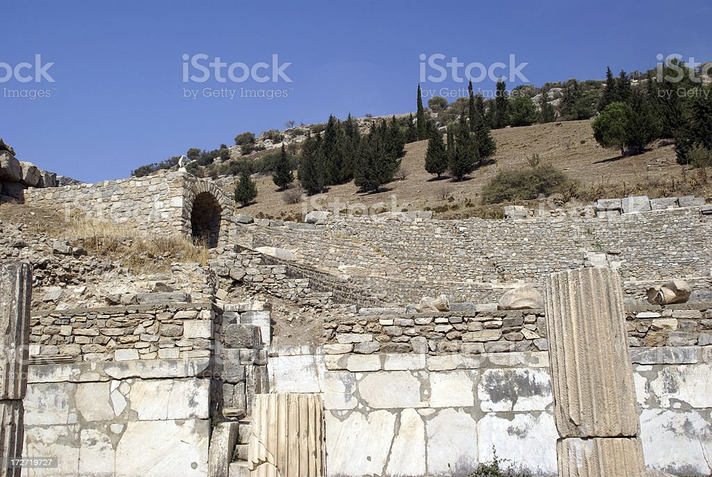 Old Walls and Hillside Ruins of Ephesus royalty-free stock photo