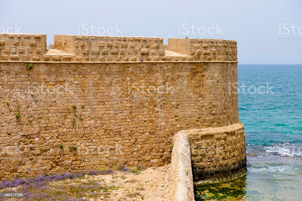 Old walls of Acre, Israel stock photo