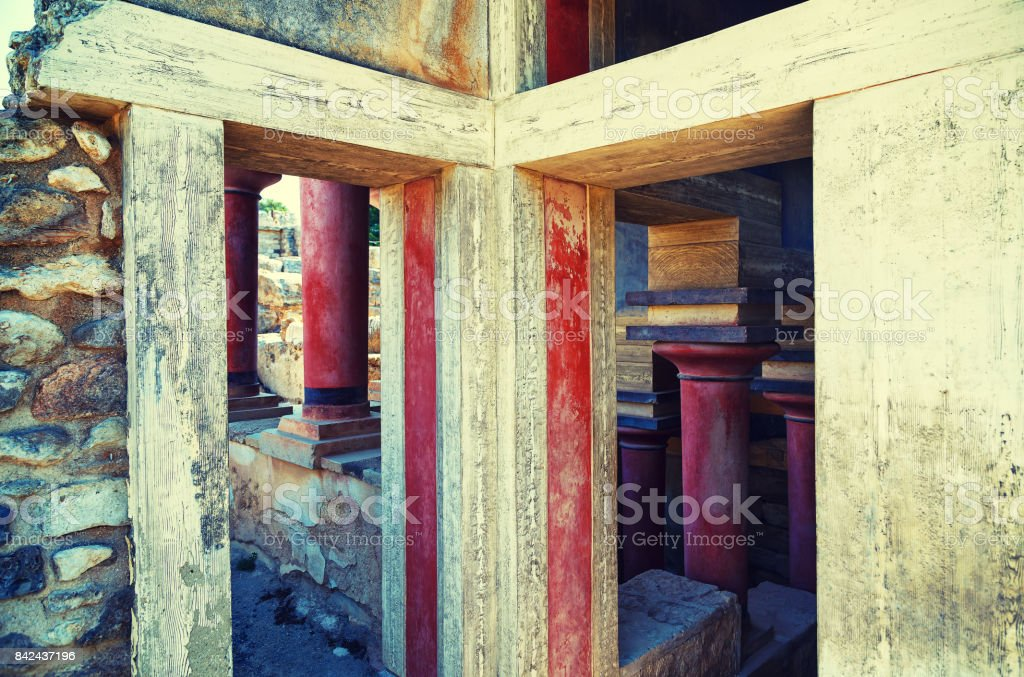 Old walls of Knossos near Heraklion. The ruins of the Minoan palaces is the largest archaeological site of all the paleces in Mediterranean island of Crete, UNESCO tentative list, Greece stock photo