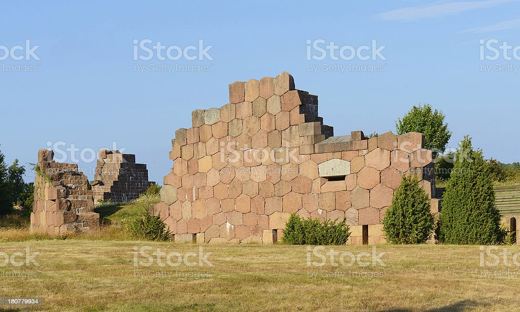 Old walls. Ruins of Bomarsund fortress royalty-free stock photo