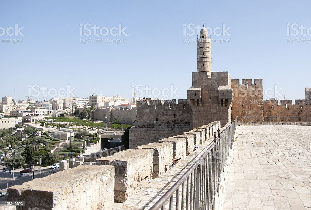 Old walls walk in Jerusalem royalty-free stock photo