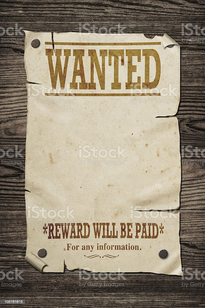 Old wanted sign. stock photo