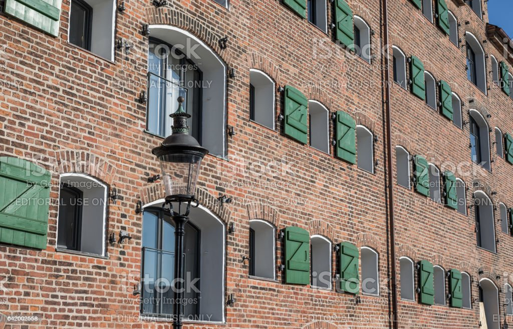 Old warehouse converted into hotel in Nyhavn, Copenhagen, Denmark stock photo