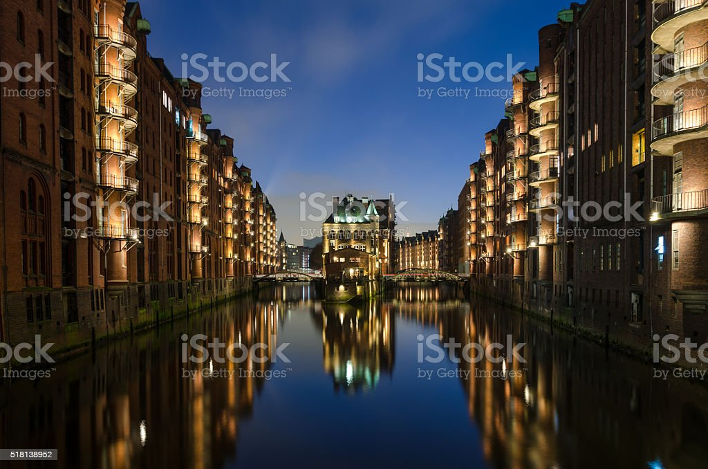 Old warehouse district of Hamburg at evening stock photo