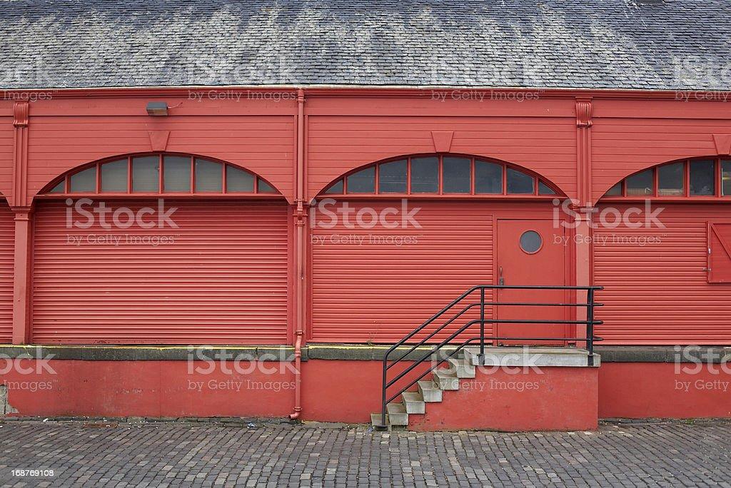 Old warehouse drydocks stock photo