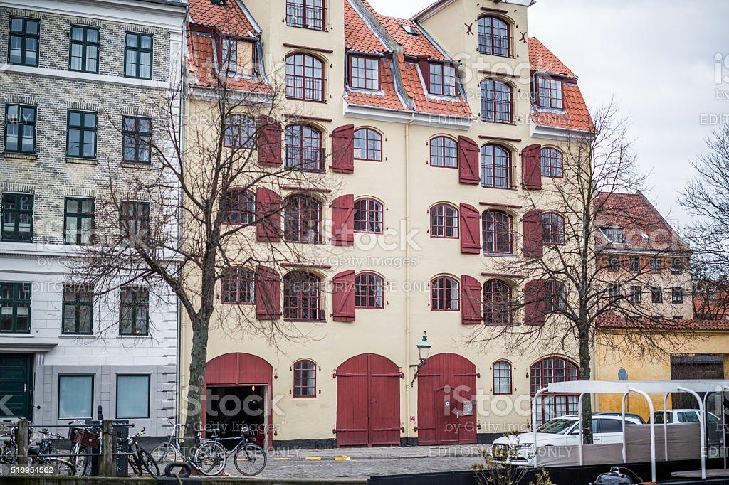 Old warehouse in Christianshavn, Copenhagen, Denmark stock photo