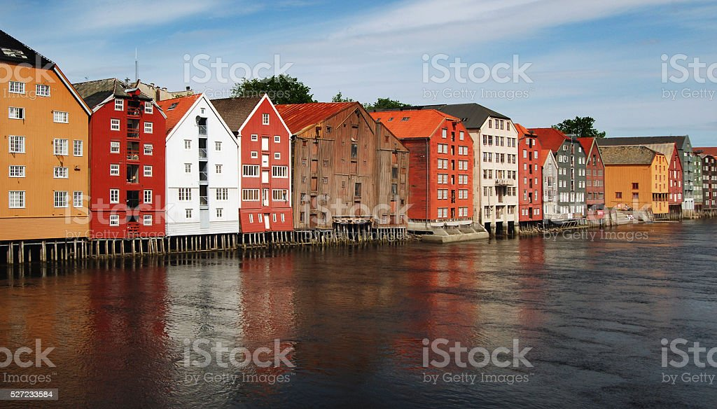 Old warehouses in Trondheim, Norway stock photo