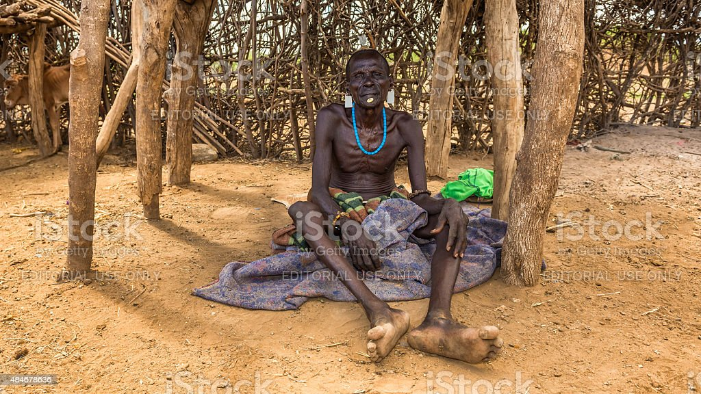 Old warrior from the african tribe Daasanach, Ethiopia stock photo
