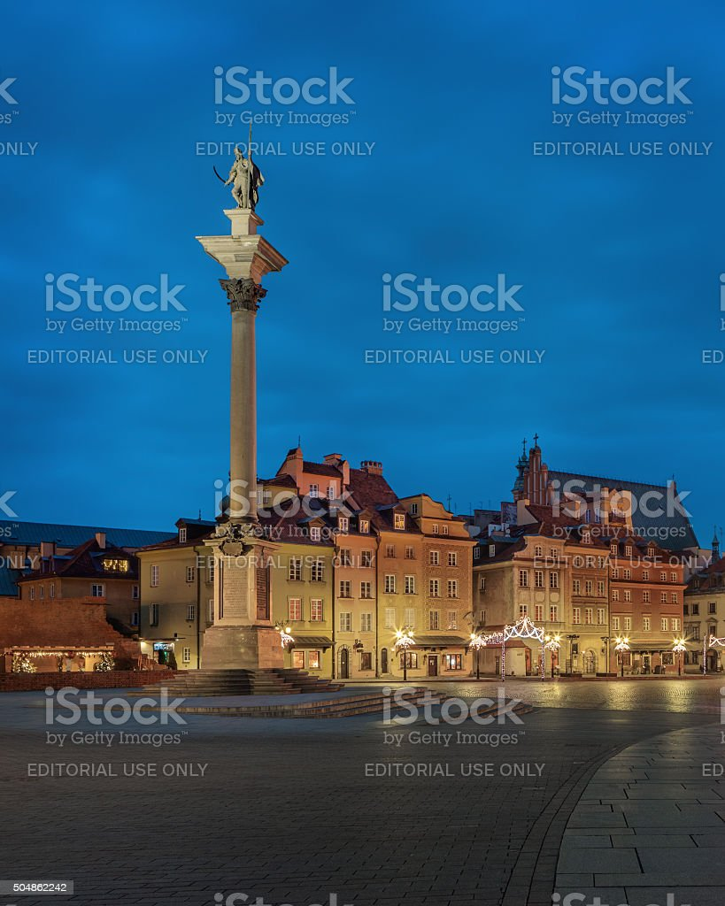 old Warsaw by night stock photo