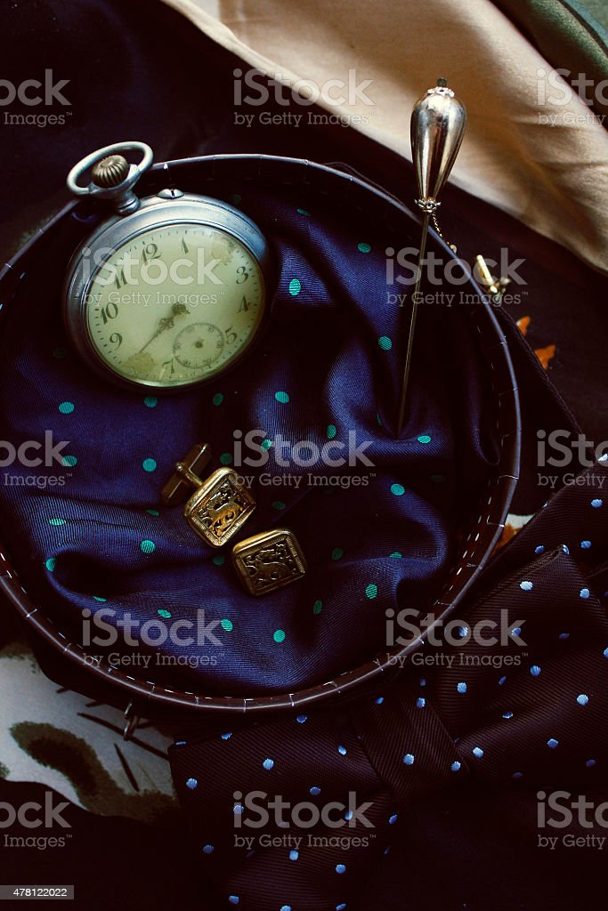 Old watch, Bow tie & Cufflings stock photo