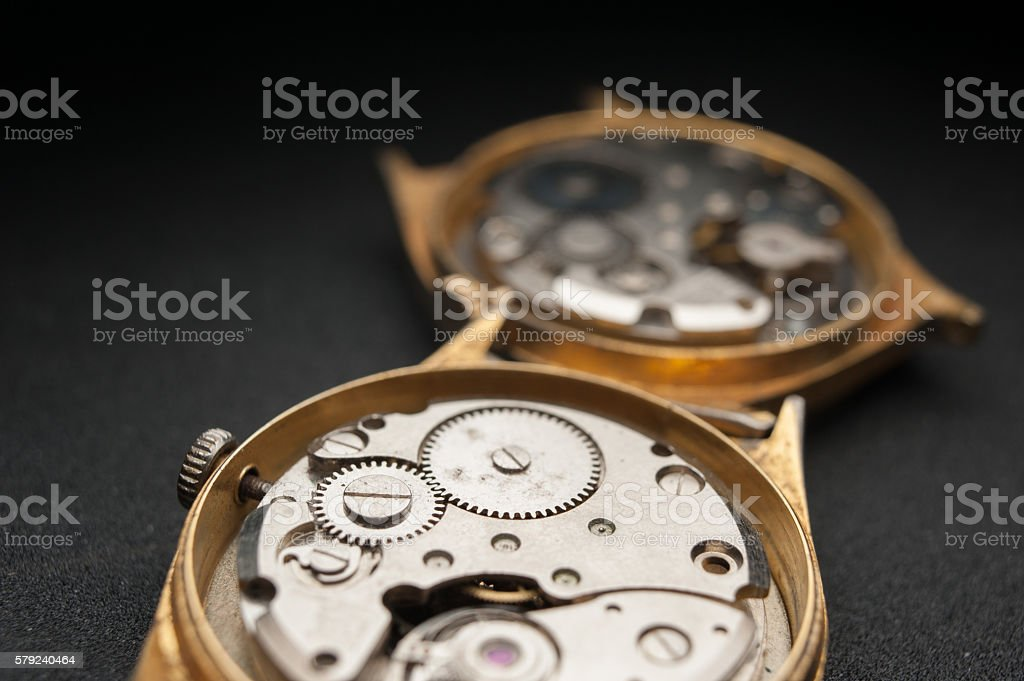 old watch golden color. stock photo