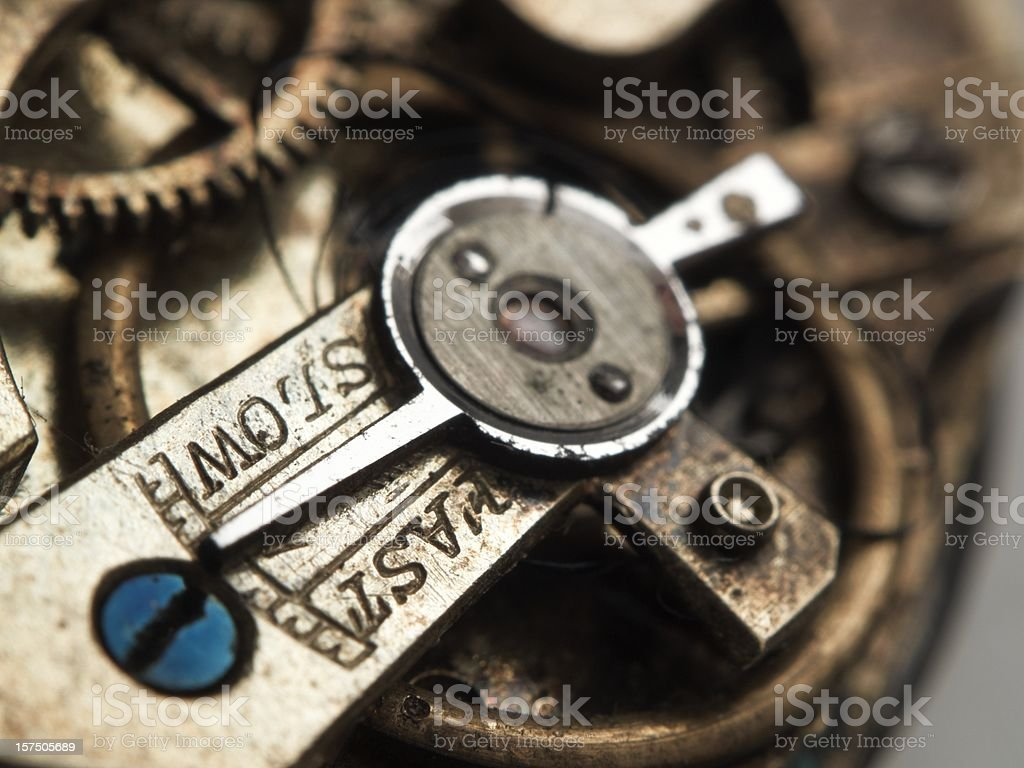 Old watch mechanism stock photo