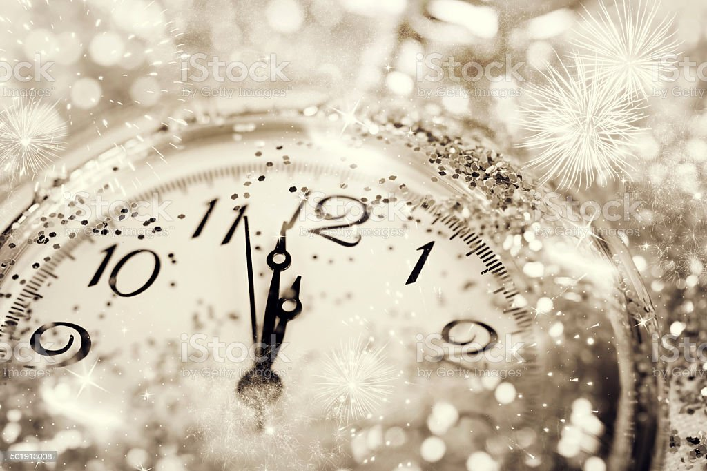 Old watch pointing midnight - New Year concept stock photo
