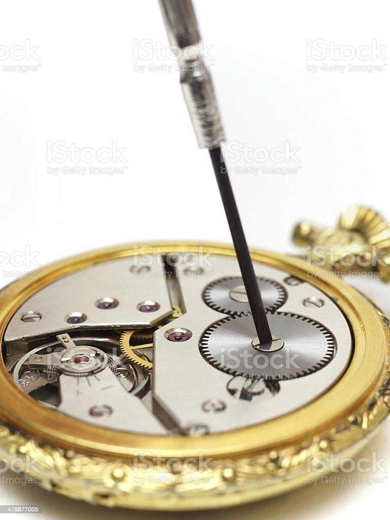 old watch repair stock photo