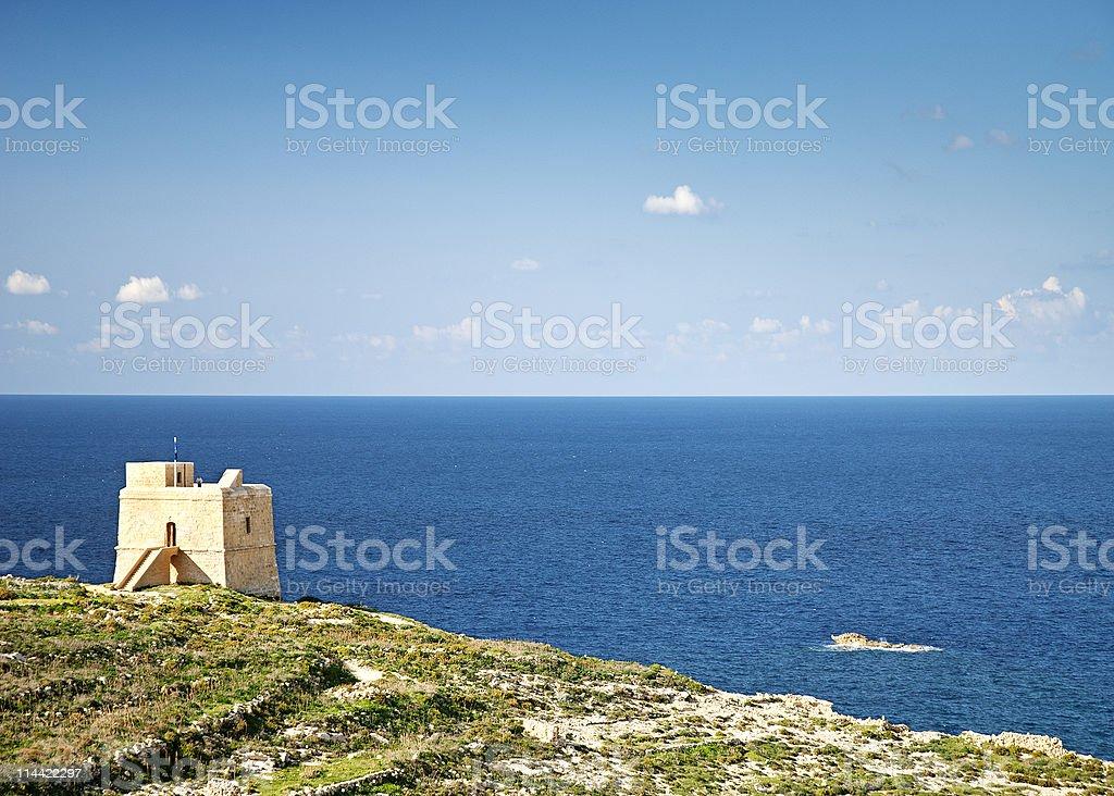 old watchtower on gozo island in malta stock photo
