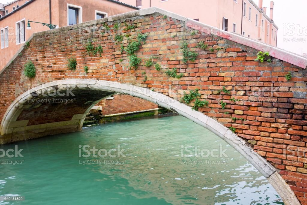 old water channel with arch bridge in retro style stock photo