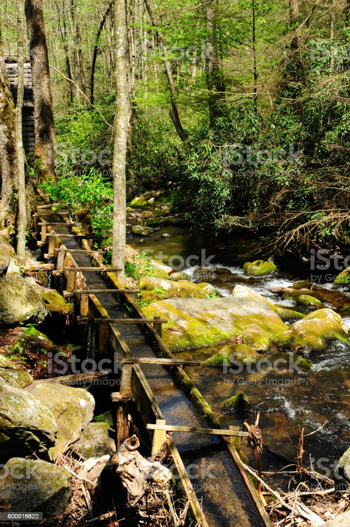 Old water flume stock photo