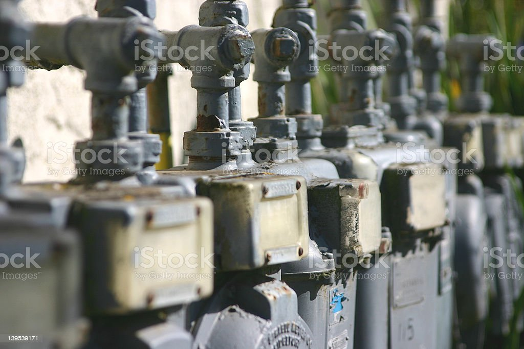 Old Water Meters stock photo
