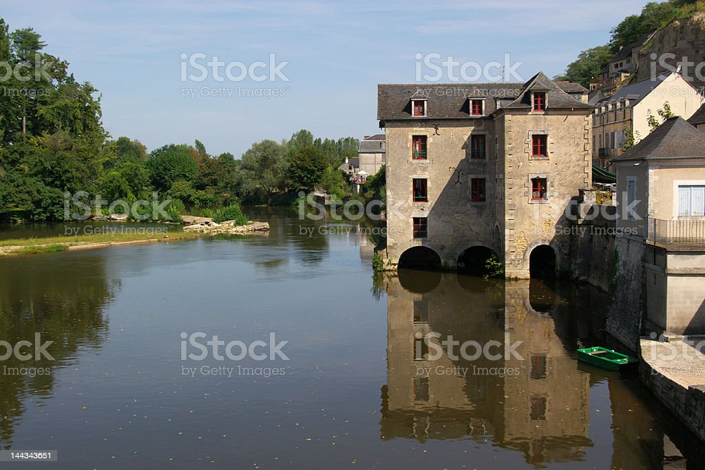old water mill on river royalty-free stock photo