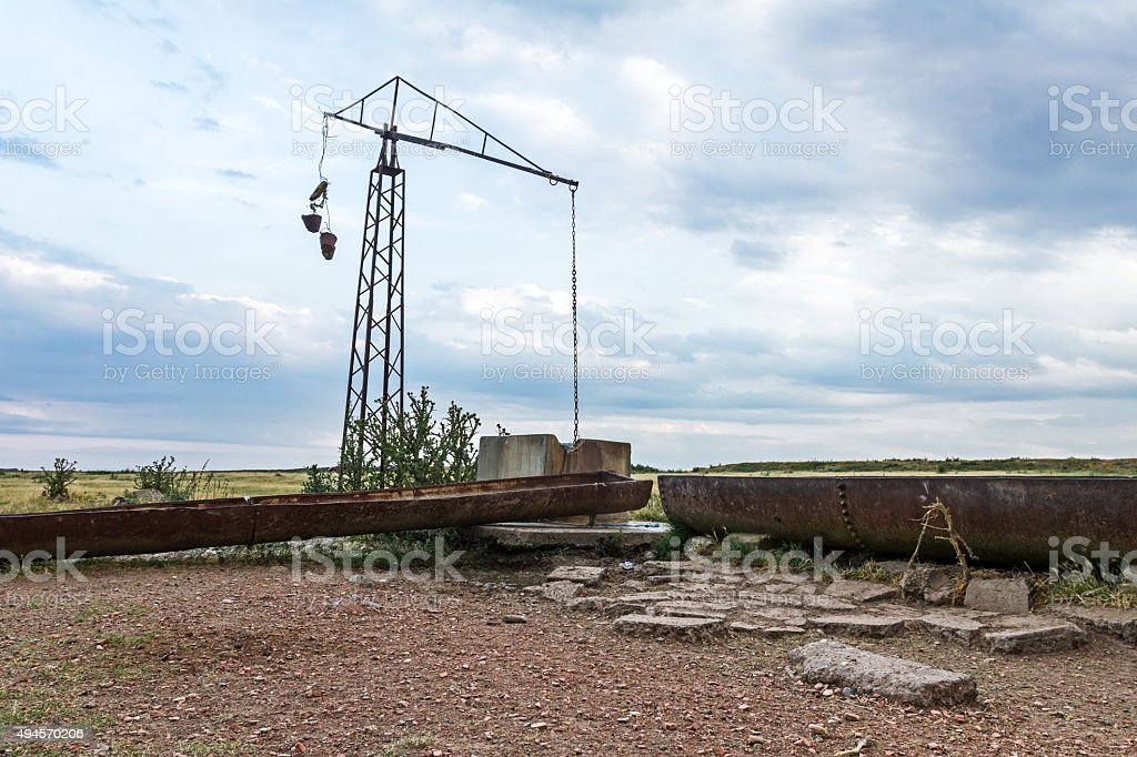 Old water shadoof well. stock photo