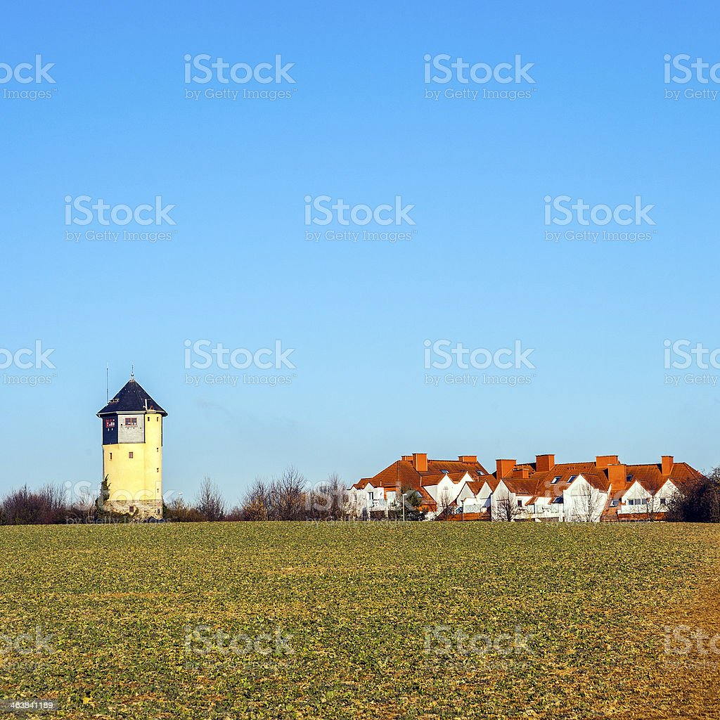 old Water tower in beautiful landscape royalty-free stock photo