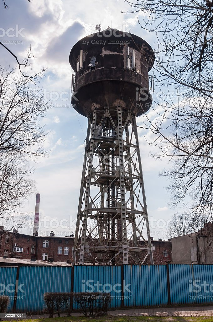 Old water tower in Nikiszowiec district, Katowice, Poland stock photo