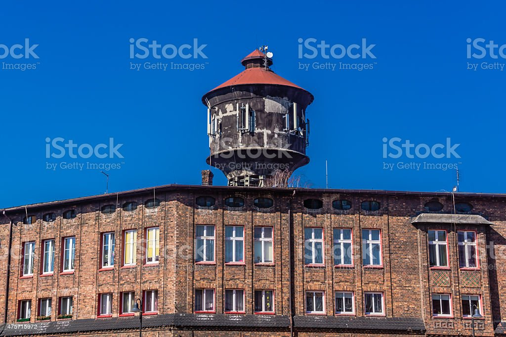 Old water tower in Nikiszowiec stock photo