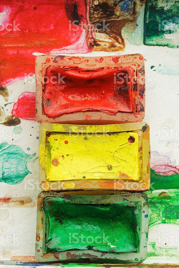 Old watercolor paints. stock photo