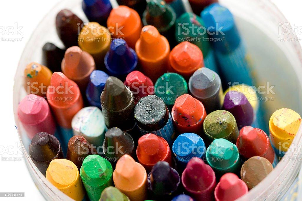old wax crayons stock photo