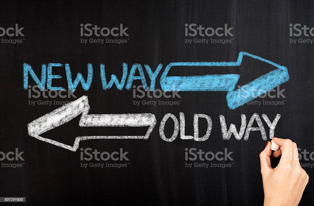 Old Way  New Way stock photo