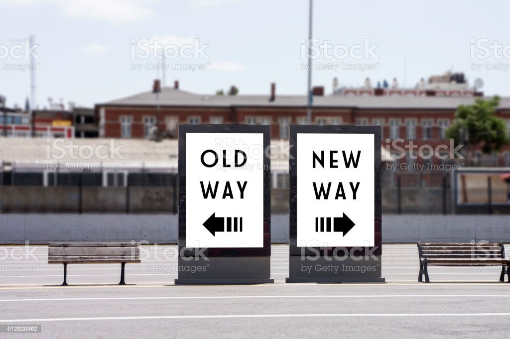 Old way or New Way Concept on Billboards stock photo