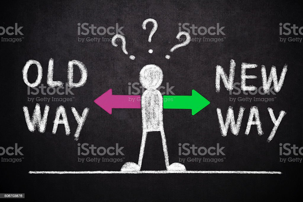 Old way or New way ? stock photo