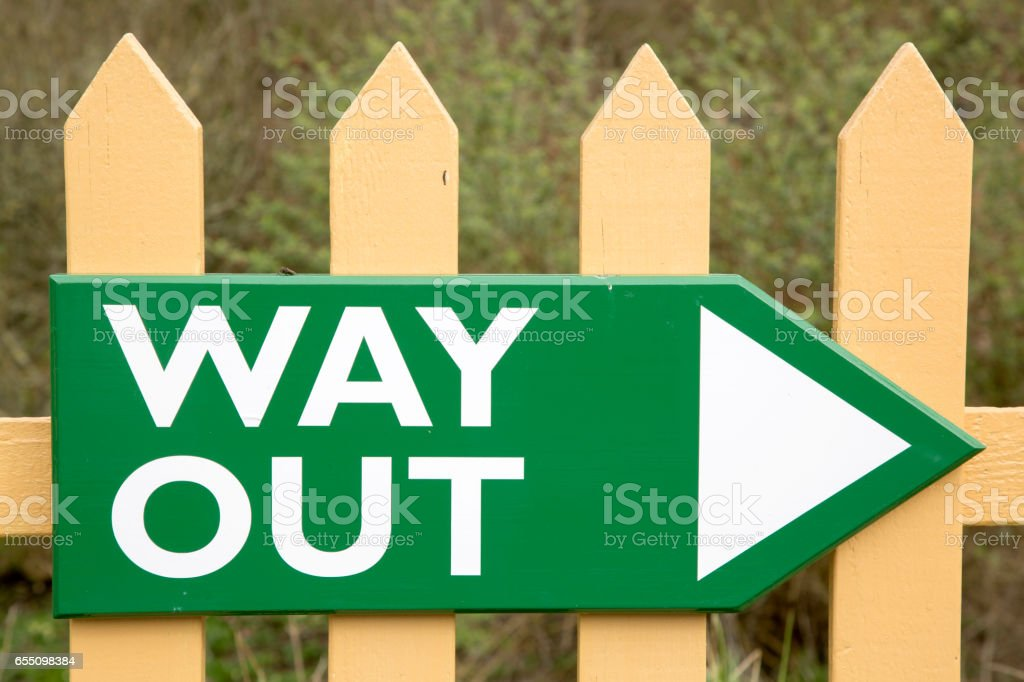 Old Way Out Sign stock photo
