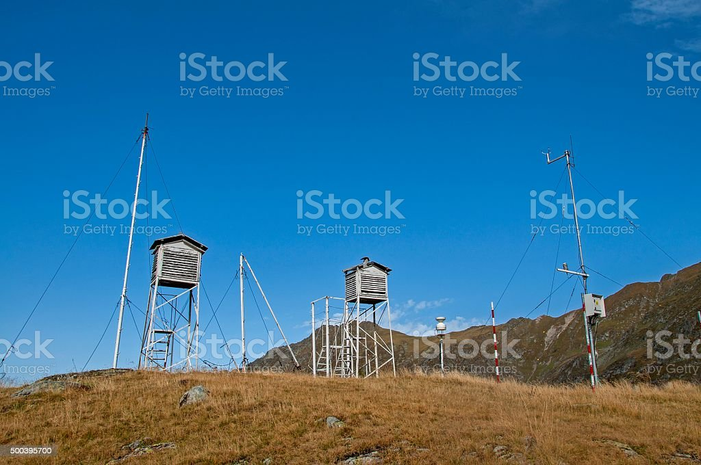Old weather station in the top of the mountains stock photo