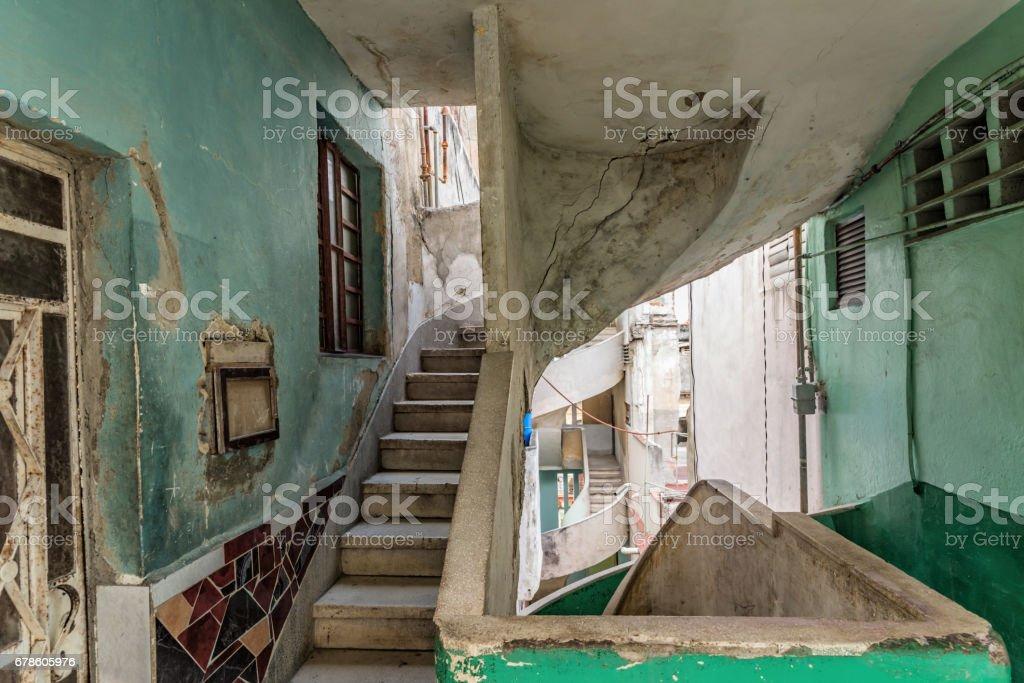 old weatherd concrete stairway in art deco style in havanna stock photo
