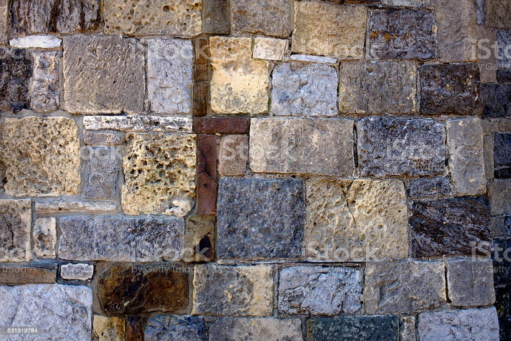 Old Weathered Block Wall Background stock photo
