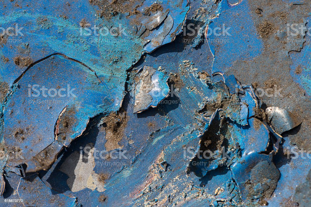 Old Weathered Blue Metal Background stock photo