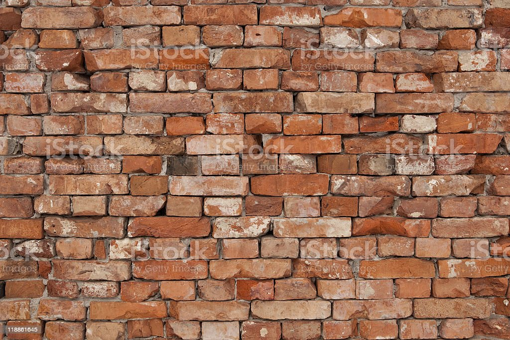 Old weathered brick wall background texture royalty-free stock photo