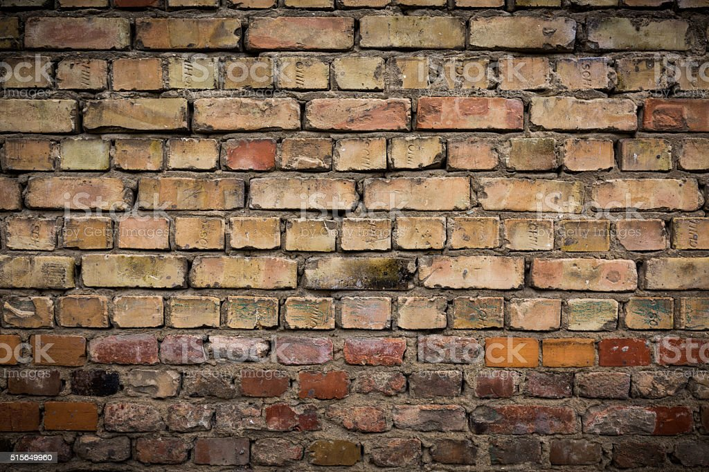 Old weathered brick wall, texture, background stock photo