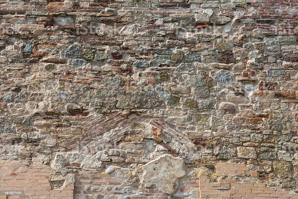 Old weathered grunge brick wall as background royalty-free stock photo