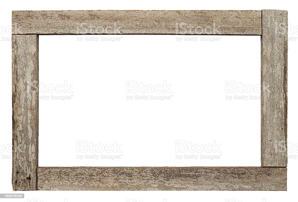 Old weathered natural wood border. stock photo