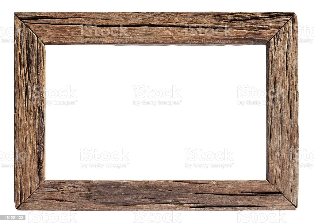 Old weathered natural wood frame. stock photo